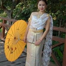 bb3d2b74dd4 2018 new arrival Thai Dai Wedding Dress White Sleeveless shoulder slim  wedding veil with Thailand Laos