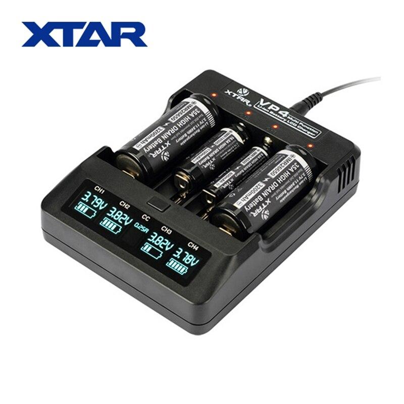 все цены на XTAR VP4 Smart Battery Charger Intelligent LCD Voltage Display 4 Slot Universal Adapter for 18650 26650 21700 + Car Charger онлайн