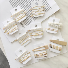 Korea Popular Geometric Triangle Gold Color Metal Hair Clips For Women Simulated Pearl Hairpins Barrettes Wholesale