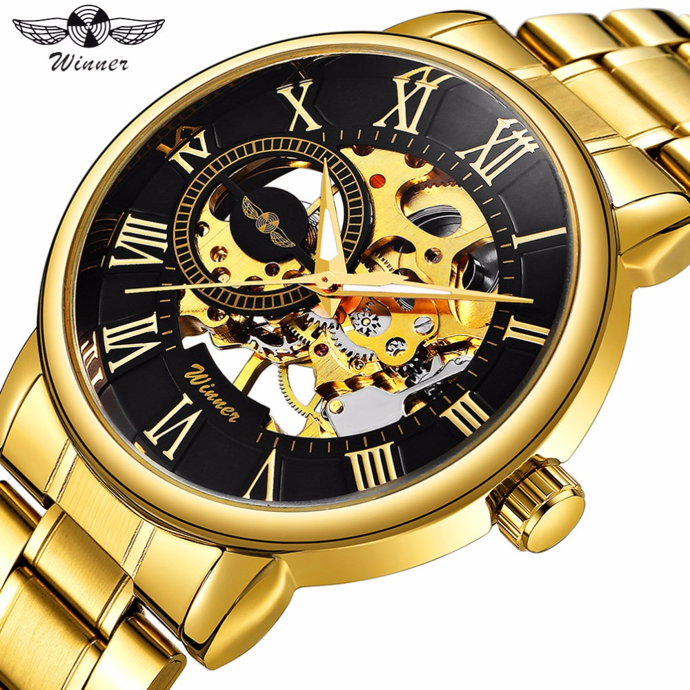 WINNER Classic Golden Skeleton  Mechanical Watch Men Stainless Steel Strap Top Brand Luxury for Vip Drop Shipping Wholesale
