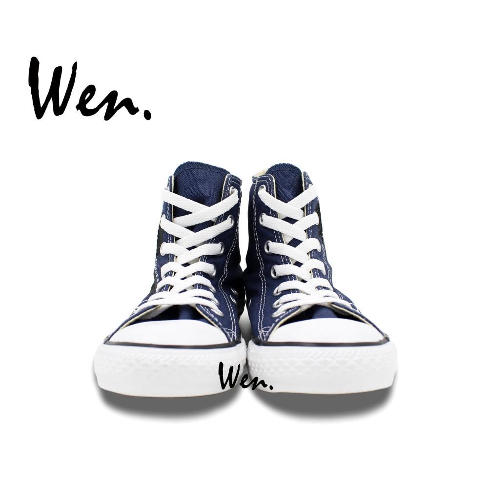 1fd38b7be12a Wen Original Hand Painted Shoes Design Custom Cute Panda Women Men s High  Top Blue Canvas Sneakers Boys Girls Gifts-in Skateboarding from Sports ...