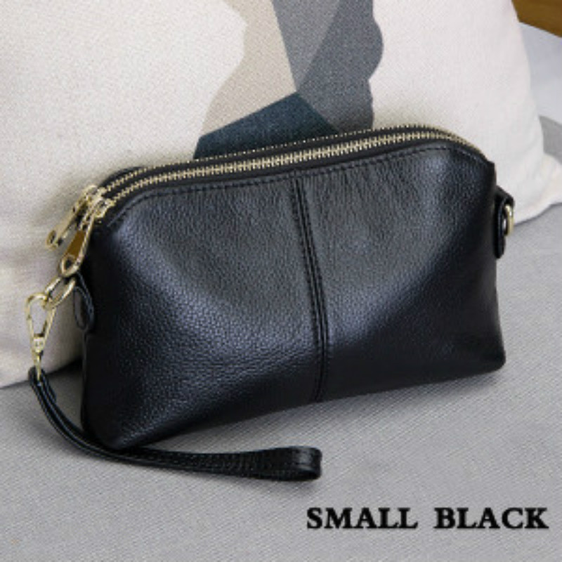 100% Genuine Leather Clutch Bag High Quality Handbag with Dual zipper Multi-pocket Fashion Trend Women Leisure Messenger Bag