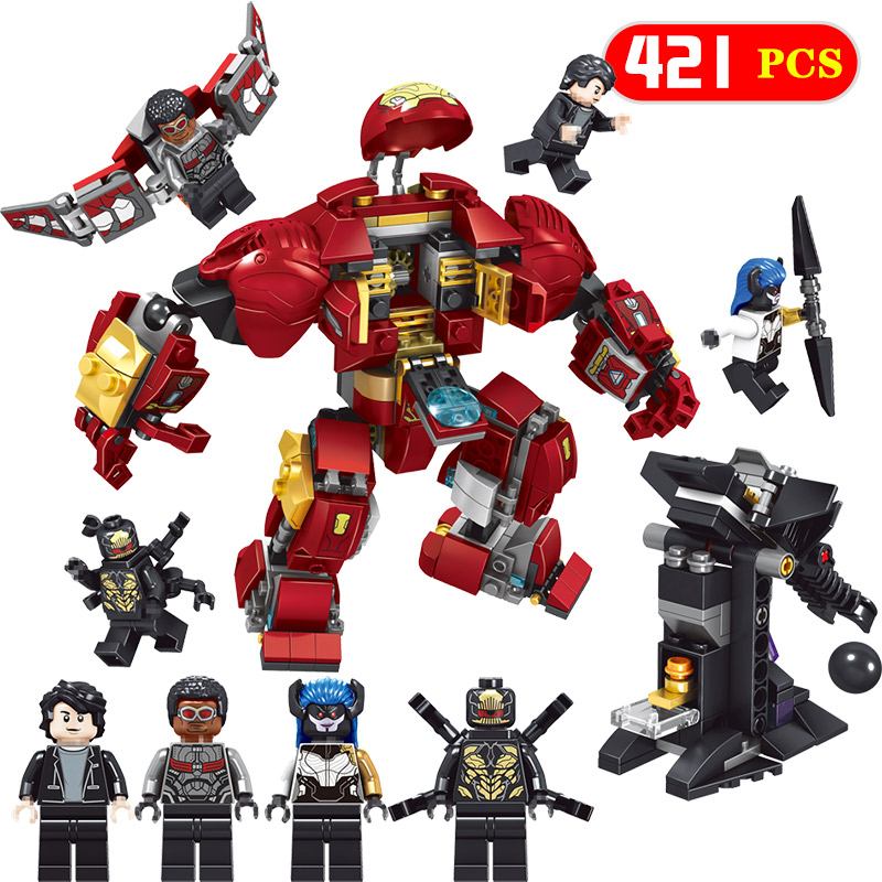 421pcs Bricks Avengers Infinity War Iron Man Compatible Legoing Super Heroes Falcon Action Figures Building Blocks Toys For Boys [bainily]511pcs superheroes space station iron man base attack on avengers tower model diy building blocks bricks toys