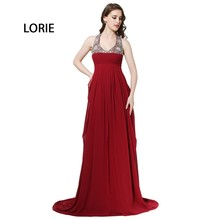 LORIE Burgundy Night Costume A-Line Backless Halter Chiffon Low-cost Lengthy Promenade Costume Particular Event Social gathering Costume Free Transport