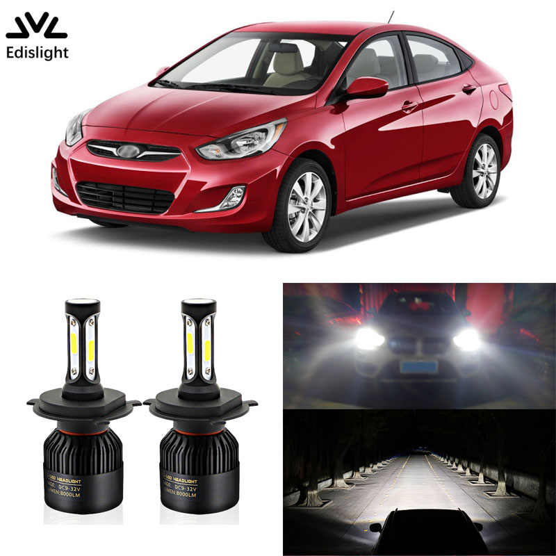Edislight High Power 72W 8000LM LED Headlight Kit Low Beam Bulbs For 2000-2013 HYUNDAI Accent Headlamp 6500K White Car Light