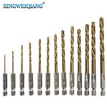 XINGWEIANG 13 шт. HSS Высокоскоростная сталь с титановым покрытием набор сверл 1/4 шестигранный хвостовик