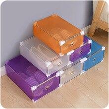 1 UNID Colorido Claro Caja de Zapatos De Plástico Cajas Plegables de Almacenamiento de Tipo Cajón Para Hombres Zapatos Organizador