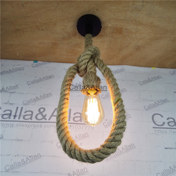 Free Shipping Vintage Rope Chandelier D25mm Loft Industrial Lamp Edison Bulb American Style 1/2/3 Meters Length E27 Fitting