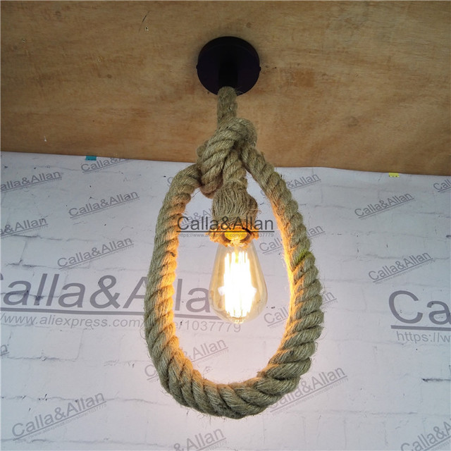 Free shipping vintage rope chandelier d25mm loft industrial lamp free shipping vintage rope chandelier d25mm loft industrial lamp edison bulb american style 12 aloadofball Choice Image