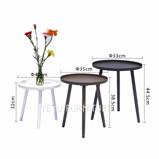 Modern Design Small Size Metal Side Table Outdoor Loft Tea Living Room Round Tray Coffee