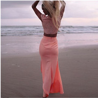 2016 New Summer Party Dress Sleeveless O Neck Chiffon High Waist Casual Beach Sexy Maxi Long