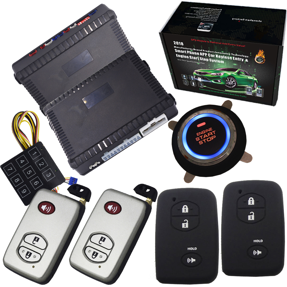 Remote engine start stop Car auto alarm ignition system push button start stop with bypass output siren output gps output passive car alarm with auto central lock unlock car door automotive engine start stop system gps output push engine start stop