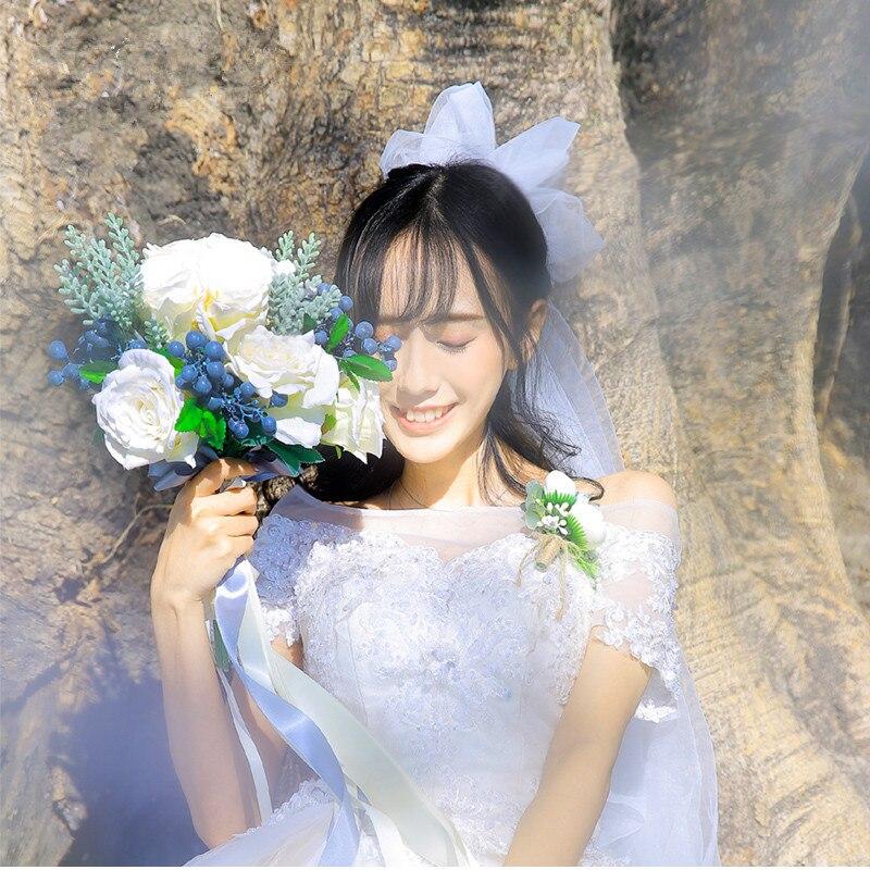 Fleur de mariage ensemble mariage mariée main Bouquet Simulation fleur événement fête fleur décorative mariage photographie photo accessoires - 4