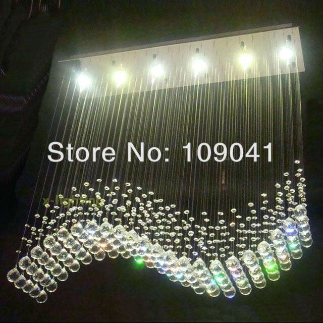 100cm LED Wave Crystal Pendant Light Rain Drop Chandelier Ceiling ...