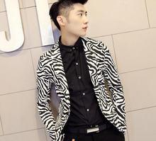 Вилочная часть зебра костюмы приталенный компактный костюмы хлопок полоска блейзеры длинный рукав с v-образным вырезом принт костюмы H2254
