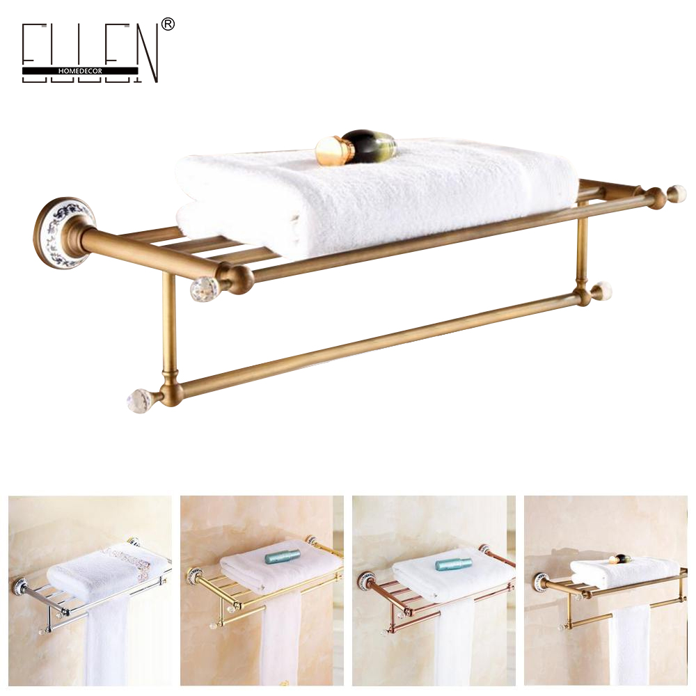 Bathroom Bath Towel Shelf Antique Bronze Towel Rack Ceramics Decorate Golden Towel Holder Bath Hardware EL5062 foldable antique copper bath towel rack wall mount active bathroom towel holder double towel shelf bathroom accessories sj6