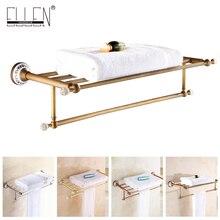 Ванная комната полотенце полка Античная бронзовая вешалка для полотенец керамика украшают Золотой полотенце аппаратного держатель ванна EL5062