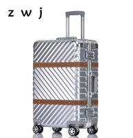 Ретро Спиннер чемодан колеса винтажная алюминиевая рама тележка Женская дорожная сумка 20 дюймов мужские сумки на колёсиках