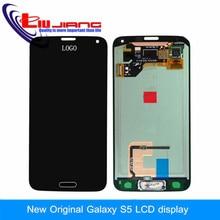 Negro original de piezas de repuesto para samsung galaxy s5 i9600 lcd display de pantalla táctil digitalizador con el botón casero + película de vidrio
