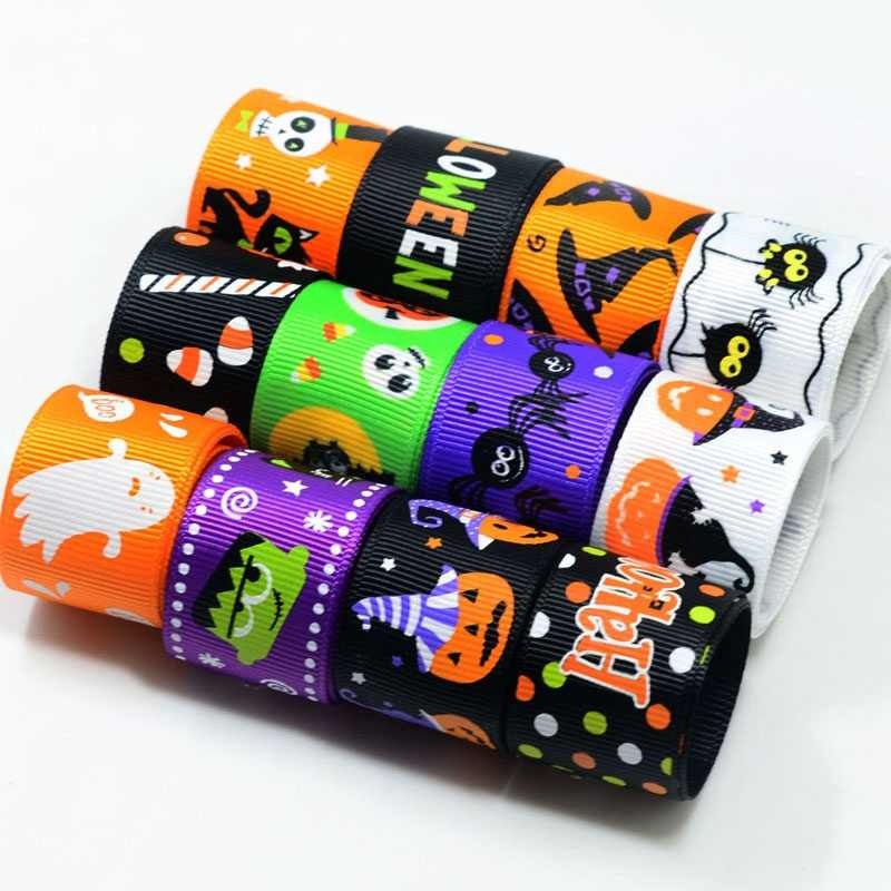 91cm length Halloween Series Pumpkin Ghost Colorful Star Printed Grosgrain/Foe Ribbon DIY Party Home Decor Hair Band