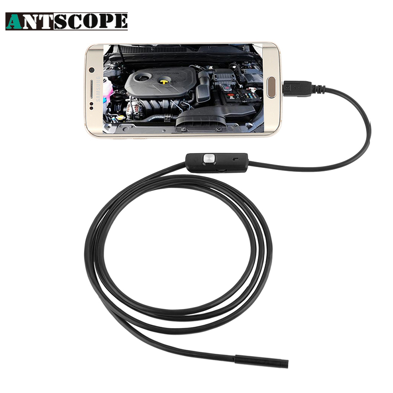 Antscope 5.5mm Lens USB Endoscope 6 LED IP67 Waterproof Camera Endoscope 1M, Mini Camera Mirror Android OTG Phone Endoscopio
