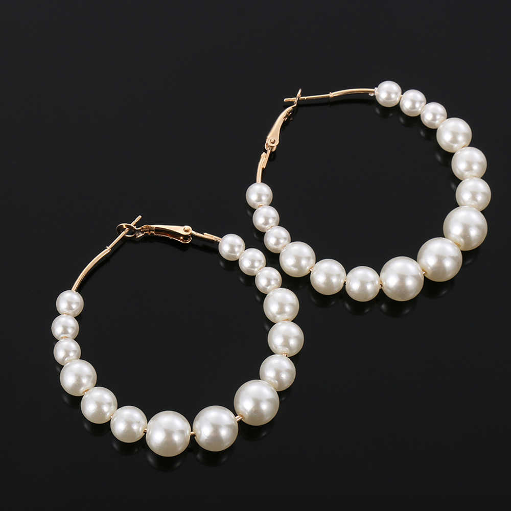 Women Elegant White Pearls Round Hoop Earrings Girl Birthday Party Big Pearl Circle Round Earrings Wedding Engagement Jewelry