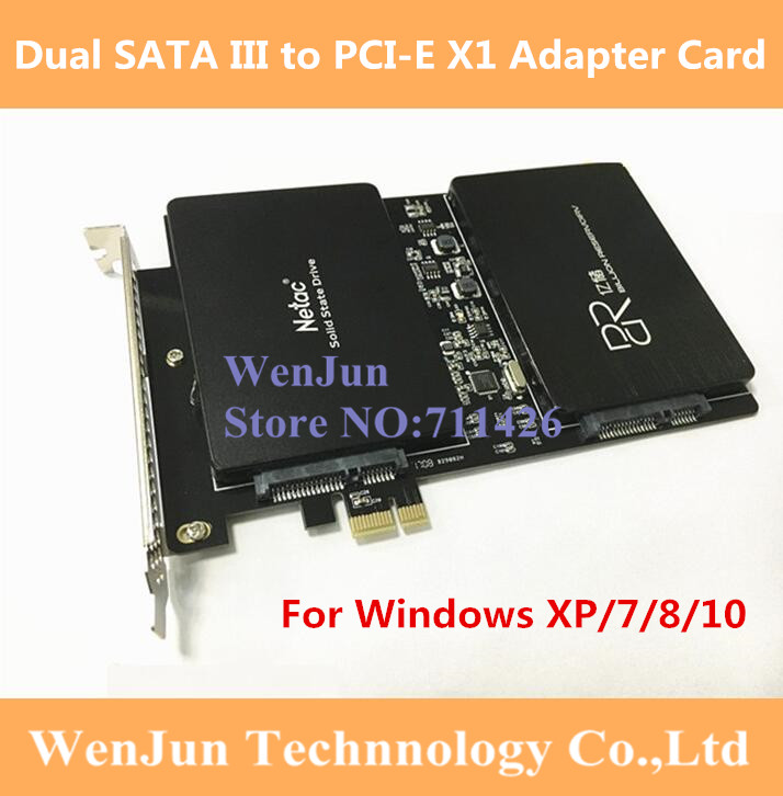 1PCS LOT DEBROGLIE DB 23561 Dual SATA III to PCI E X1 Expansion adapter card for