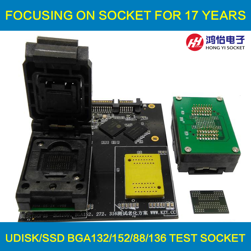 BGA132/BGA152/BGA88/BGA136 to DIP48 Adapter IC Test Socket Burn in Socket Programmer Socket With Board Clamshell Structure fshh qfn32 to dip32 programmer adapter wson32 udfn32 mlf32 ic test socket size 3 2mmx13 2mm pin pitch 1 27mm