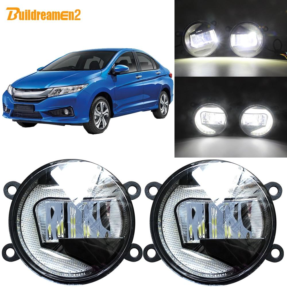 Buildreamen2 For Honda City Ballade Grace 2014 2018 Car LED Projector Fog Light + DRL Daytime Running Light White H11 Socket 12V