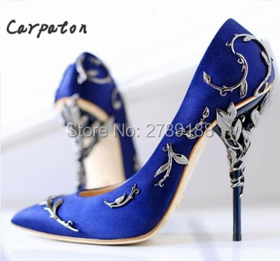 f9e7091b3a73 New Arrival Pink Metal Stiletto High Heel Shoes Women Fancy Metal Branch  Decoration Pointed Toe Thin Heel Office Ladies Pumps
