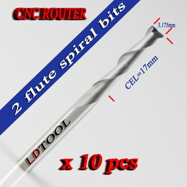 10ピース3.175 × 17ミリメートル超硬cnc二つのフルートスパイラルビット切削ルータエンドミルカッター-2LX3。17フリー船