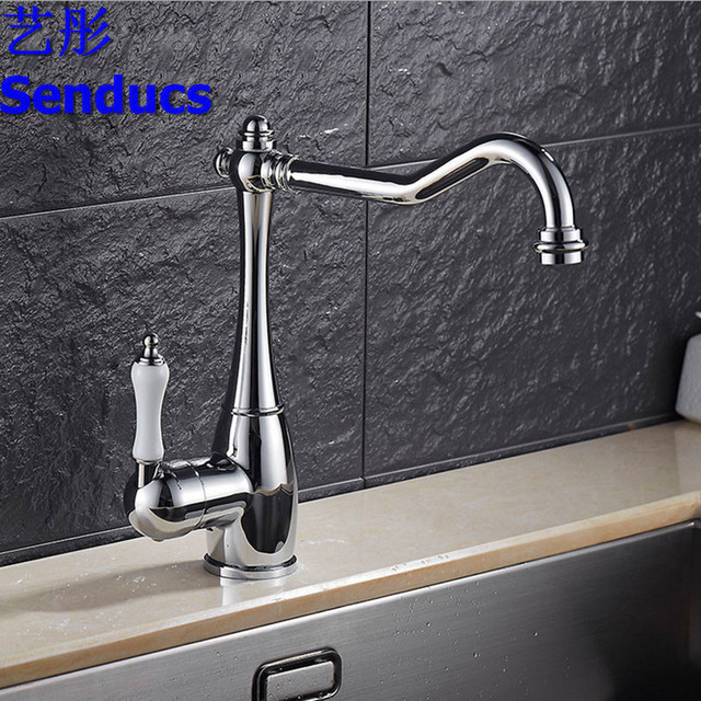 Free Shipping Senducs Antique Kitchen Faucet Of Solid Brass Kitchen Sink  Faucet By Single Handle Chrome