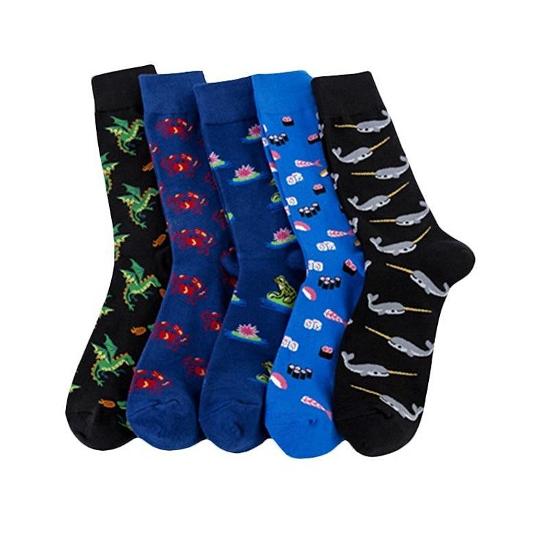 New 2019 Combed Cotton Men's Socks Funny Frog Dinosaur Pattern Kawaii Hip Hop Happy Socks Casual Harajuku Novelty Sokken
