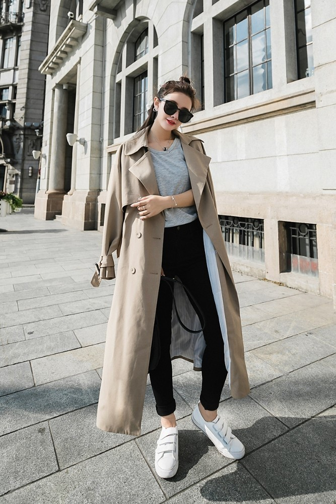 2018 Autumn Capable Outfit Double-breasted Loose Over-the-knee Super Long Women Windbreaker   Trench   Coat Light Camel