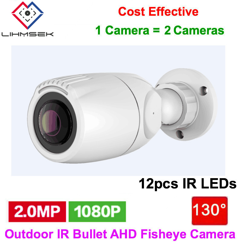 Lihmsek Hd Ahd 2.0 Megapixel Small Bullet Ir Waterproof Camera Fisheye With 130 Degree Lens,12pcs Ir Leds,10-15m Ir Night Vision Surveillance Cameras