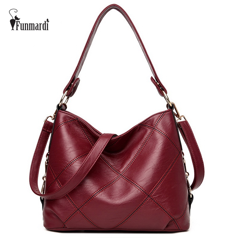 FUNMARDI High Quality Patchwork Women Handbags PU Leather Women Shoulder Bags Brands Women Bucket Bags Casual Tote Bags WLHB1710 chispaulo women genuine leather handbags cowhide patent famous brands designer handbags high quality tote bag bolsa tassel c165