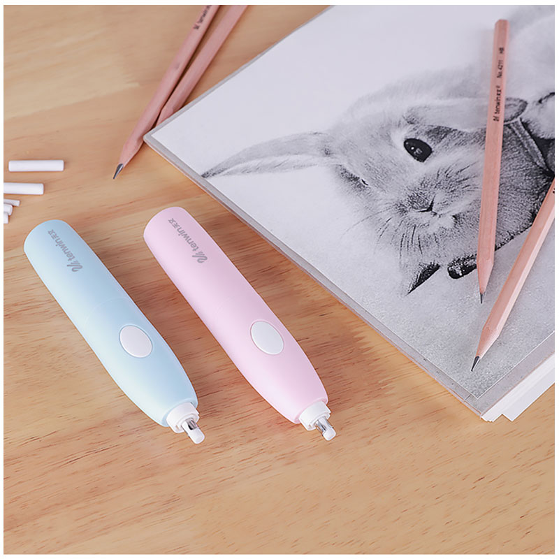 Tenwin Adjustable Electric Pencil Eraser Student Rubbers Battery Electric Erasers For Stationery Office School Supplies Gift