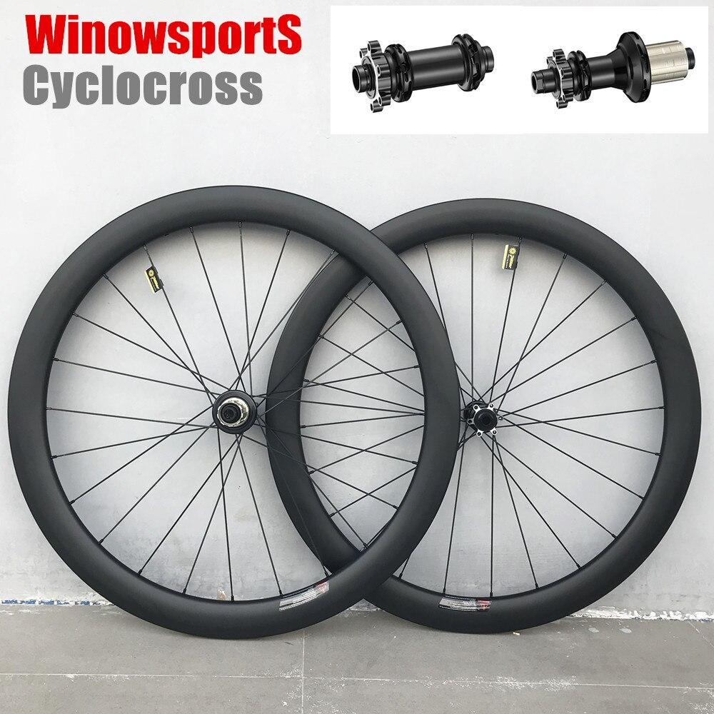 Winow 2019 roues de cyclocross en carbone 6 boulons droit traction 50mm tubulaire pneu sans chambre route frein à disque roues de route en carbone