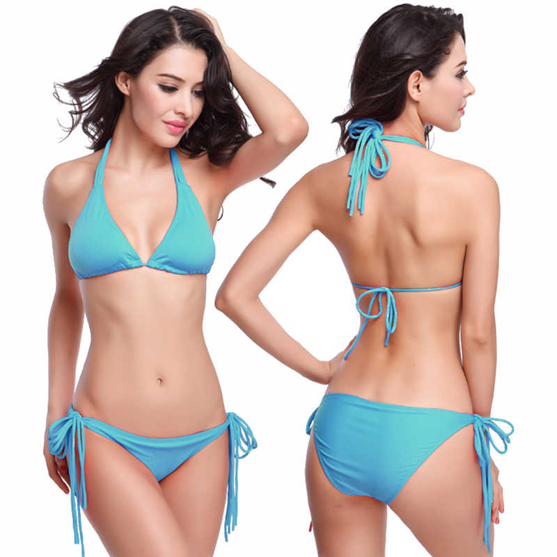 c143690d238 ... Maxmessy Spring Summer Swimwear Swimming Suit Long Removable Pad Sexy Women  Beach Bikini Sets Bra Thong ...