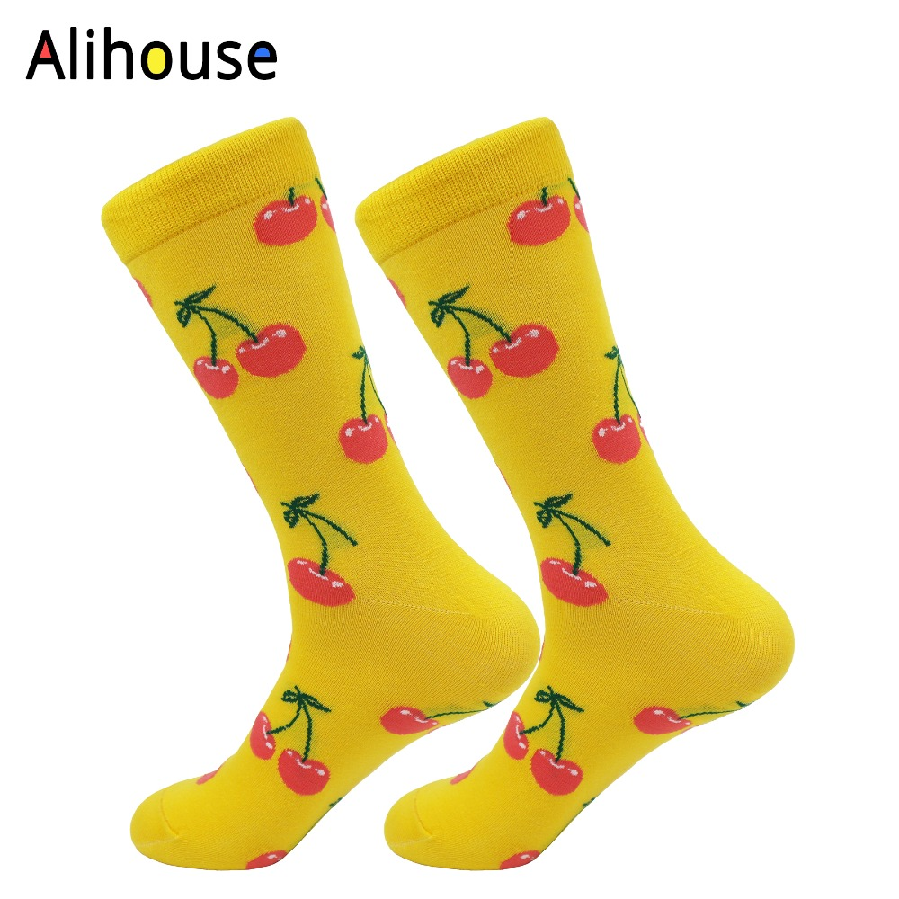 Alihouse Mens Funny Colorful Cherry Pattern Combed Cotton Breathable Casual Crew Socks Happy Socks Dress Wedding Socks For Gift