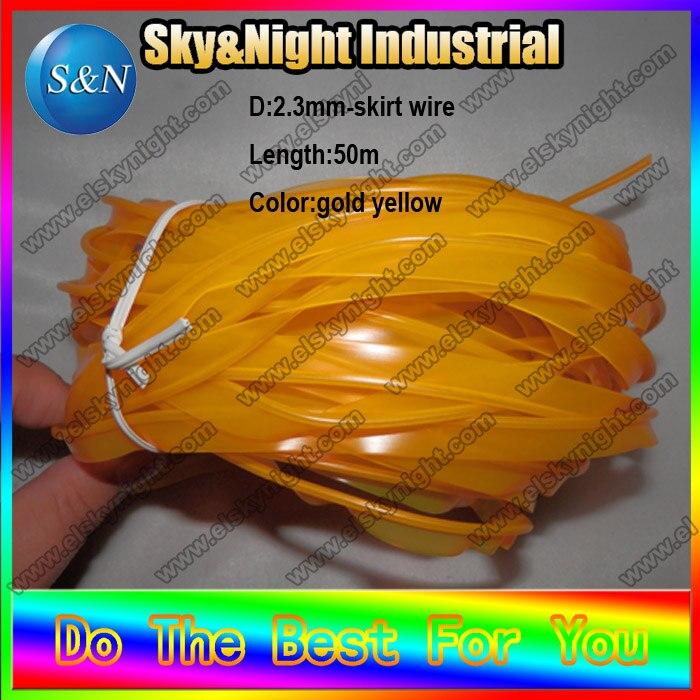 Nouveau 2017 flexible néon froid el jupe wire-2.3mm-gold jaune + livraison gratuite dans dix couleurs sans inverseur