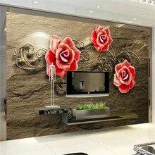 Fotografia beibehang personalizado papel de parede 3d flor vermelha gravada 3d-papel mural papel de Parede papel de parede murais quarto marrom