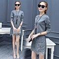 Novas mulheres de renda Médio-longo bolso t-shirt feminina outono primavera longo-luva top fino básico O-pescoço cor Sólida camisa Patchwork