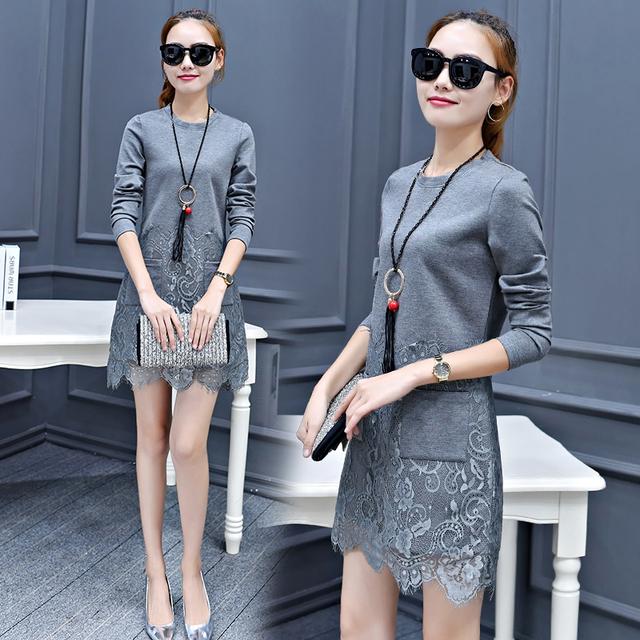 Nuevo de las mujeres de bolsillo de encaje Medio-largo de la camiseta femenina otoño primavera de manga larga tapa delgada básica Del O-cuello Del color Sólido camisa Patchwork