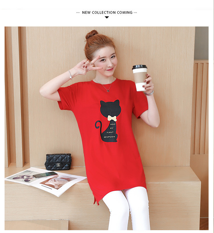 2018 Large size Women T-shirt dress summer Short sleeve Cats print Top Tees Casual O-neck Loose Female Tshirt Plus size 5XL J215 16