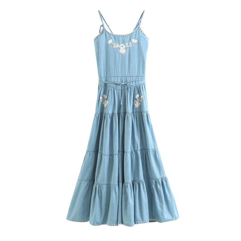 White Flower Embroidered Printed Strap Denim Dress Sexy Back Waist With Tiered Hem Dress Woman Summer 2018 Elegant Dress