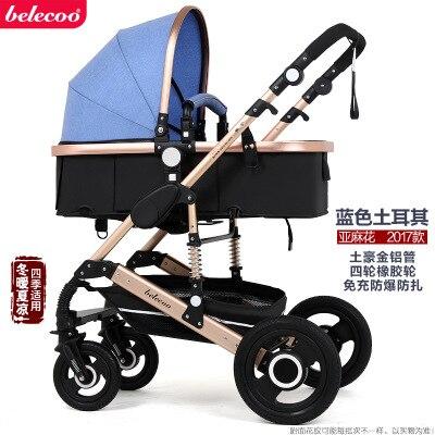 Belecoo Высокая Пейзаж Роскошная детская коляска 0-36 месяцев коляска надувной натуральный каучук колеса детская коляска - Цвет: Linen blue