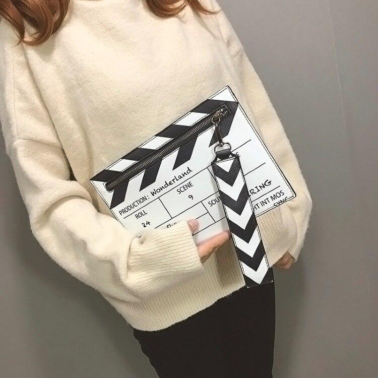 Pochette Pu Wobag Femmes Messener Enveloppe À Black Nouvelle white Conception Bandoulière Mode Cuir Film Décontracté En Pour Prop Sac PrzqXrFw