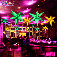 Free Shipping stage decoration green nylon inflatable stars, 0.9m yellow oxford inflatable star inflatable toy