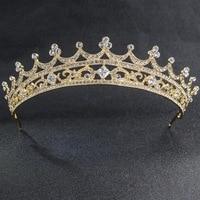 Real Austrian Rhinestone Classic Wedding Bridal Gold Tiara Crown For Women Accessories Jewelry SHA7857